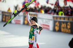 Katharina Truppe (AUT) celebrating after the Ladies' Slalom at 56th Golden Fox event at Audi FIS Ski World Cup 2019/20, on February 16, 2020 in Podkoren, Kranjska Gora, Slovenia. Photo by Matic Ritonja / Sportida