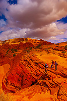 Hiking in Coyotte Buttes North, Paria Canyon-Vermillion Cliffs Wilderness Area, Utah-Arizona border, USA