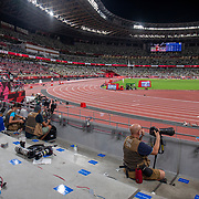 TOKYO, JAPAN August 7:  Very few professional sports photographers on the final night of the Track and Field competition at the Olympic Stadium  at the Tokyo 2020 Summer Olympic Games on August 7th, 2021 in Tokyo, Japan. (Photo by Tim Clayton/Corbis via Getty Images)