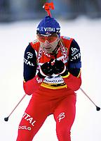 ◊Copyright:<br />GEPA pictures<br />◊Photographer:<br />Thomas Karner<br />◊Name:<br />Bjoerndalen<br />◊Rubric:<br />Sport<br />◊Type:<br />Ski nordisch, Biathlon<br />◊Event:<br />Biathlon Weltcup, Staffelwettkampf Maenner 10km<br />◊Site:<br />Ruhpolding, Deutschland<br />◊Date:<br />15/01/05<br />◊Description:<br />Ole Einar Bjoerndalen (NOR)<br />◊Archive:<br />DCSTK-1501054009<br />◊RegDate:<br />15.01.2005<br />◊Note:<br />8 MB - MP/MP - Nutzungshinweis: Es gelten unsere Allgemeinen Geschaeftsbedingungen (AGB) bzw. Sondervereinbarungen in schriftlicher Form. Die AGB finden Sie auf www.GEPA-pictures.com.<br />Use of picture only according to written agreements or to our business terms as shown on our website www.GEPA-pictures.com.