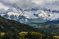 First snow of the autumn season on the Sneffels Range, Colorado.
