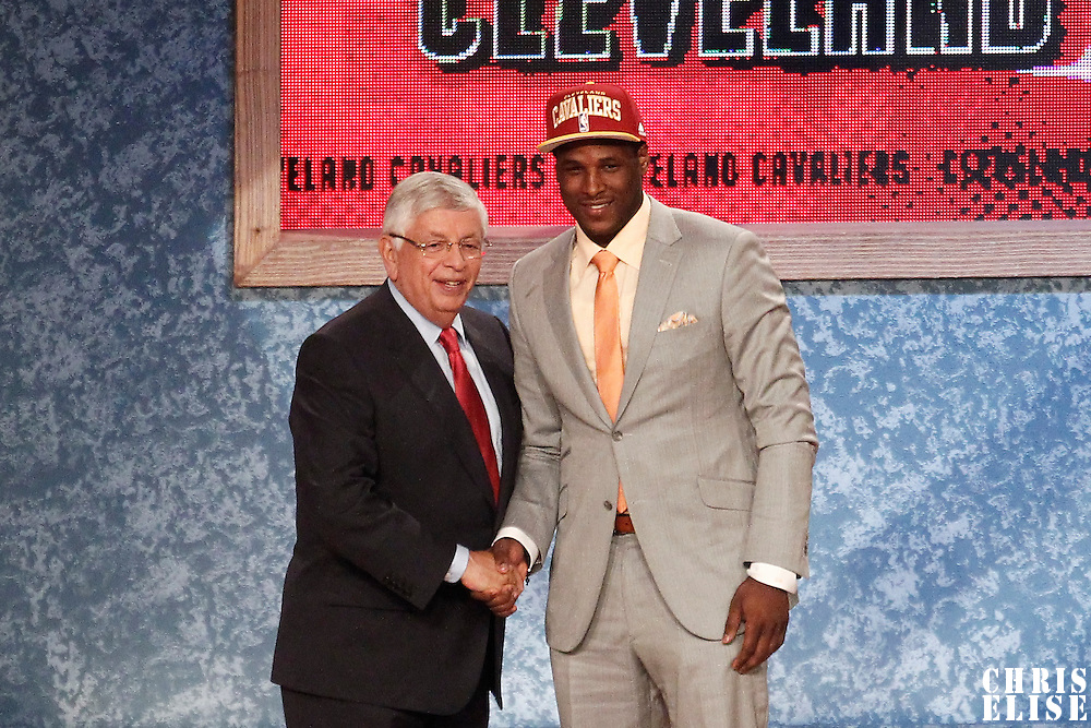 28 June 2012: Dion Waiters, picked up by the Cleveland Cavaliers, poses with David Stern during the 2012 NBA Draft, at the Prudential Center, Newark, New Jersey.