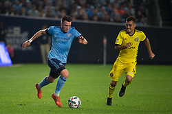 November 5, 2017 - Bronx, New York, U.S - New York City FC midfielder JACK HARRISON (11) dribbles the ball being chased by Columbus Crew midfielder HECTOR JIMENEZ (16) during leg 2 of the Eastern Conference Semifinal at Yankee Stadium, Bronx, NY.  NYCFC defeats Columbus Crew 2-0.  Columbus wins 4-3 on aggregate. (Credit Image: © Mark Smith via ZUMA Wire)
