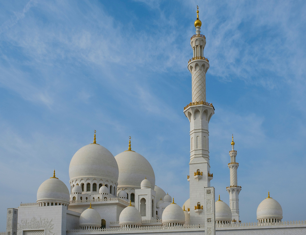 UNITED ARAB EMIRATES, ABU DHABI - CIRCA JANUARY 2017: View of the domes, cupolas and minaret of the Sheikh Zayed Mosque