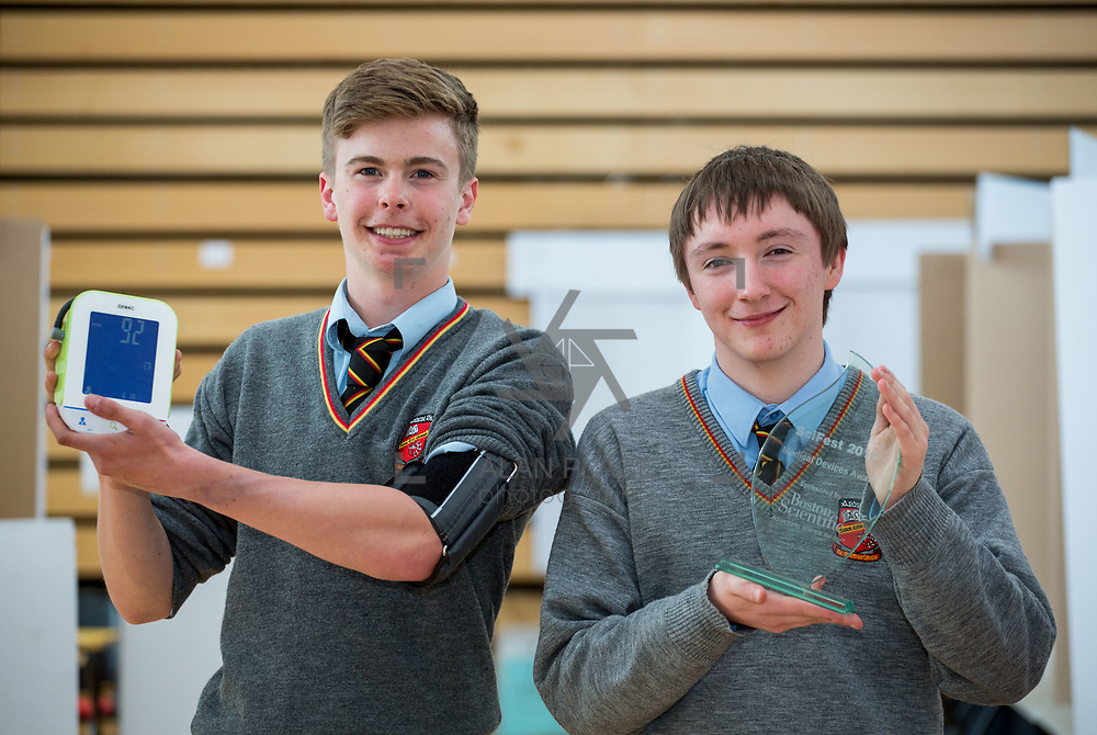 27.04.2016.          <br />  Kalin Foy and Ciara Coyle win SciFest@LIT<br /> Kalin Foy and Ciara Coyle from Colaiste Chiarain Croom to represent Limerick at Ireland's largest science competition.<br /> <br /> Pictured are Ardscoil Ris students, Diarmuid O Hanlon and Padraig Ryan who's project , Your Health is Your Wealth: An app you can use at home to monitor your overall health, won the Boston Scientific Medical Devices Award.<br /> <br /> Of the over 110 projects exhibited at SciFest@LIT 2016, the top prize on the day went to Kalin Foy and Ciara Coyle from Colaiste Chiarain Croom for their project, 'To design and manufacture wireless trailer lights'. The runner-up prize went to a team from John the Baptist Community School, Hospital with their project on 'Educating the Youth of Ireland about Farm Safety'.   Picture: Alan Place