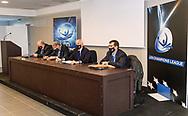 Technical Meeting<br /> - (white cap) vs  -(blue cap)<br /> LEN Champions League Ostia<br /> Polo Natatorio Freccia Rossa <br /> Ostia, Italy ITA <br /> Photo © G. Scala/Deepbluemedia