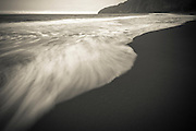 Waves, Waipio Valley beach, Hamakua Coast, The Big Island, Hawaii USA