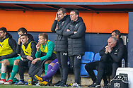 Plymouth Argyle manager Derek Adams after seeing the fourth goal against his side during the EFL Sky Bet League 1 match between Luton Town and Plymouth Argyle at Kenilworth Road, Luton, England on 17 November 2018.