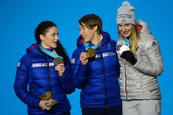February 18, 2018 - Pyeongchang, South Korea - JACQUELINE LOELLING of Germany (right) , LIZZY YARNOLD of Great Britain (center) and LAURA DEAS of Great Britain with their medals from the Women's Skeleton event in the PyeongChang Olympic Games. (Credit Image: © Christopher Levy via ZUMA Wire)