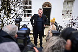 **Permission granted for daughter to be photographed**<br /> © Licensed to London News Pictures. 10/03/2021. London, UK. Former Good Mooring Britain host PIERS MORGAN talks to media as he leaves his London home with his daughter ELISE the morning after resigning over comments he made about The Duchess of Sussex, Meghan Markle. Photo credit: Ben Cawthra/LNP