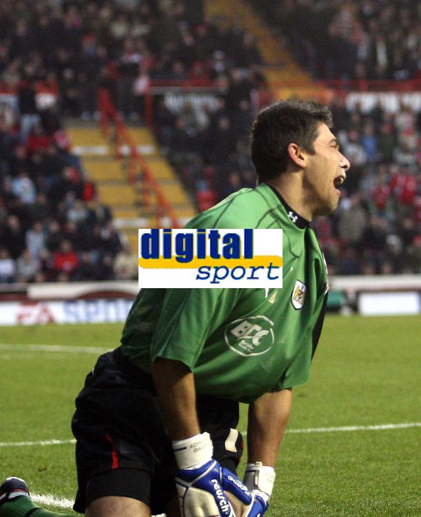 Photo: Mark Stephenson/Sportsbeat Images.<br /> Bristol City v Cardiff City. Coca Cola Championship. 15/12/2007.Bristol's keeper Adriano Basso is in pain