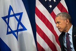 U.S. President Barack Obama looks on during a bilateral meeting with Prime Minister of Israel Benjamin Netanyahu at the Lotte New York Palace Hotel, September 21, 2016 in New York City. Last week, Israel and the United States agreed to a $38 billion, 10-year aid package for Israel. Obama is expected to discuss the need for a 'two-state solution' for the Israeli-Palestinian conflict. Photo by Drew Angerer/Pool/ABACAPRESS.COM