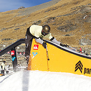 Lawrance Simpson, 24, from Queenstown didn't quite receive the birthday present he expected yesterday crashing and receiving a nasty leg injury during the Quiksilver Invitational Slopestyle event at the Queenstown WInter Festival, The Remarkables Ski Field's Terrain Park, Queenstown, South Island, New Zealand, 3rd July 2011