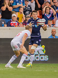 June 16, 2018 - Houston, Texas, US - Scotland Men's Rugby Team scrum half George Horne (9) during the Emirates Summer Series 2018 match between USA Men's Team vs Scotland Men's Team at BBVA Compass Stadium, Houston, Texas (Credit Image: © Maria Lysaker via ZUMA Wire)