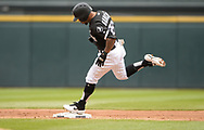 CHICAGO - MAY 18:  Leury Garcia #28 of the Chicago White Sox rounds second base after hitting a home run against the Toronto Blue Jays on May 18, 2019 at Guaranteed Rate Field in Chicago, Illinois.  (Photo by Ron Vesely)  Subject:  Leury Garcia