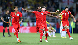 England's Jesse Lingard (left) and Danny Rose (second left) celebrate winning the penalty shootout during the FIFA World Cup 2018, round of 16 match at the Spartak Stadium, Moscow. PRESS ASSOCIATION Photo. Picture date: Tuesday July 3, 2018. See PA story WORLDCUP Colombia. Photo credit should read: Tim Goode/PA Wire. RESTRICTIONS: Editorial use only. No commercial use. No use with any unofficial 3rd party logos. No manipulation of images. No video emulation