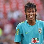 Neymar, Brazil, during warm up before the USA V Brazil International friendly soccer match at FedEx Field, Washington DC, USA. 30th May 2012. Photo Tim Clayton