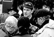 Peter Spurrier Sports Photo<br /> email pictures@rowingpics.com<br /> 44 (0) 7973 819 551<br /> Boat Race 2001<br /> <br /> Umpire, Rupert Obholzer, explains his decision. too restart the race soon after the start. [Mandatory Credit; Peter SPURRIER/Intersport Images]<br /> <br /> 20010324 University Boat Race, Putney to Mortlake, London, Great Britain.