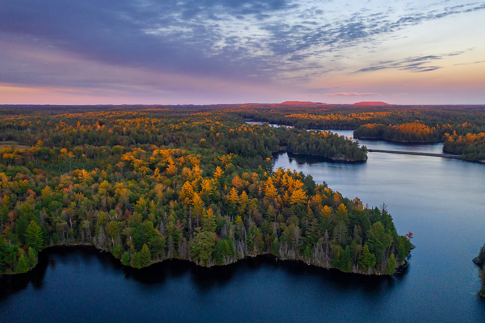 Drone view of kayaking on Greenwood Reservoir near Ishpeming, Michigan in Marquette County.