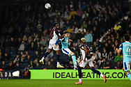 West Bromwich Albion defender Darnell Furlong (2) heads the ball during the EFL Sky Bet Championship match between West Bromwich Albion and Derby County at The Hawthorns, West Bromwich, England on 14 September 2021.