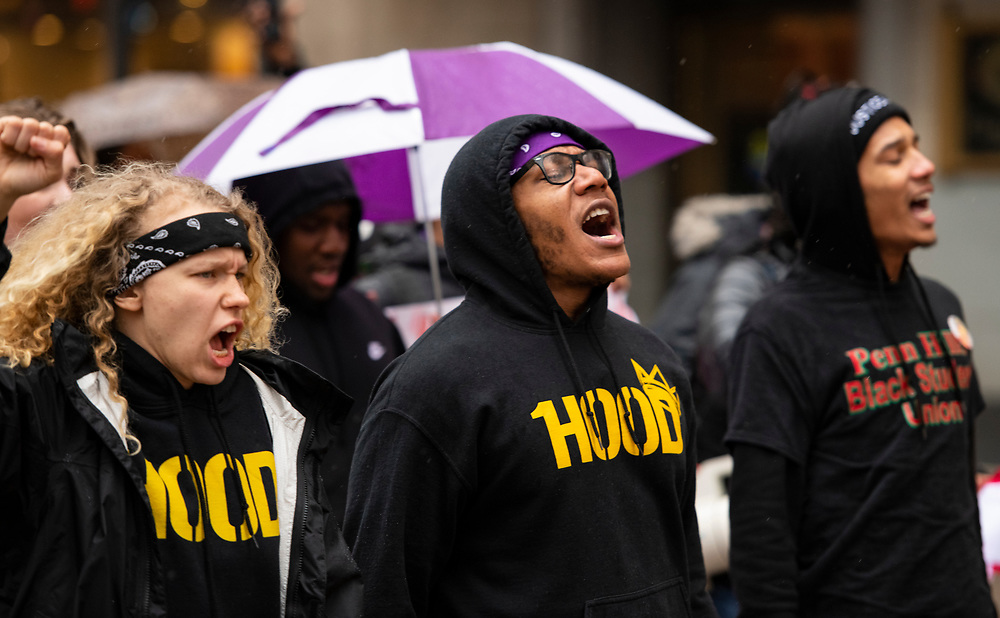 Hundreds of Students from Pittsburgh Public Schools and Universities march though out downtown Pittsburgh on Monday, March 25th, 2019 in Protest of Rosfeld's Not Guilty Verdict. Rosfeld was found not guilty on Friday evening in last summer's fatal shooting of Antwon Rose, after the car he was riding in was suspected in being involved in a shooting.