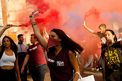 October 13, 2017 - Naples, Campania, Italy - Thousands of students held a demonstration, as part of a nationwide mobilization, to protest against the so-called 'La Buona Scuola' (Good School) reform, the school-work alternation and in defence of public education in Naples, Italy. (Credit Image: © Paolo Manzo/NurPhoto via ZUMA Press)
