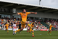 Cele -   Jon Parkin of Newport county (c) celebrates after he scores his teams 1st goal to equalise at 1-1. EFL Skybet football league two match, Newport county v Cheltenham Town at Rodney Parade in Newport, South Wales on Saturday 10th September 2016.<br /> pic by Andrew Orchard, Andrew Orchard sports photography.
