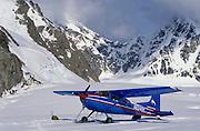 Alaska. Denali NP. Kahiltna Glacier with a Cessna 185 Ski Plane.