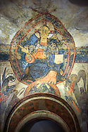 Twelfth Century Romanesque fresco of Christ Pentocrator (In Majesty) from the Apse of the church of Sant Vicenc *Vincent) de Cardona, Barges, Spain. Painted around 1200. National Art Museum of Catalonia, Barcelona. MNAC 200715 .<br /> <br /> If you prefer you can also buy from our ALAMY PHOTO LIBRARY  Collection visit : https://www.alamy.com/portfolio/paul-williams-funkystock/romanesque-art-antiquities.html<br /> Type -     MNAC     - into the LOWER SEARCH WITHIN GALLERY box. Refine search by adding background colour, place, subject etc<br /> <br /> Visit our ROMANESQUE ART PHOTO COLLECTION for more   photos  to download or buy as prints https://funkystock.photoshelter.com/gallery-collection/Medieval-Romanesque-Art-Antiquities-Historic-Sites-Pictures-Images-of/C0000uYGQT94tY_Y