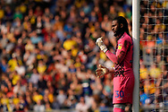 Yves Makabu Ma-Kalambay of Wycombe Wanderers leans against the upright of the goal post during the EFL Sky Bet League 1 match between Oxford United and Wycombe Wanderers at the Kassam Stadium, Oxford, England on 30 March 2019.