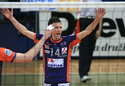 Ales Fabjan celebrates at last final volleyball match of 1.DOL Radenska Classic between OK ACH Volley and Salonit Anhovo, on April 21, 2009, in Arena SGS Radovljica, Slovenia. ACH Volley won the match 3:0 and became Slovenian Champion. (Photo by Vid Ponikvar / Sportida)