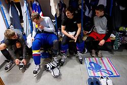 Jure Stan Anze Dovic, Jaka Zdesar and … in wardrobe prior to the Practice session of Slovenian U20 ice-hockey team, on December 08, 2011 in Ledena dvorana, Bled, Slovenia. (Photo By Vid Ponikvar / Sportida.com)