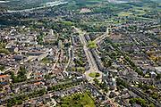 Nederland, Limburg, Gemeente Maastricht, 27-05-2013; Maastricht, het Koningin Emmaplein in de wijk Brusselsepoor, gezien in de richting Tongerseplein. Brede straat is de Hertogsingel. Links is het historische centrum, in de achtergrond de Maas.<br /> View on Maastricht, from the residential district Brusselsepoort in southern direction. Historic center right, the river Maas (Meuse) top picture.<br /> luchtfoto (toeslag op standaardtarieven);<br /> aerial photo (additional fee required);<br /> copyright foto/photo Siebe Swart.