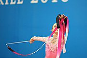 Durunda Marina during final at ribbon in Pesaro World Cup April 28, 2013.<br /> Marina is a Azerbaijani individual rhythmic gymnast of Ukrainian origin, she born on June 12, 1997 in Sevastopol.