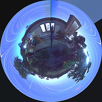 Summertime Night Sky over New Jersey (360 Little Planet View Panorama). Composite of images (20:12-03:20) taken with a Ricoh Theta Z1 camera (ISO 400, dual 2.6 mm fisheye lens, f/2.1, 60 sec). With image alignment in Photoshop CC (scrips,statistics, maximum, align images)