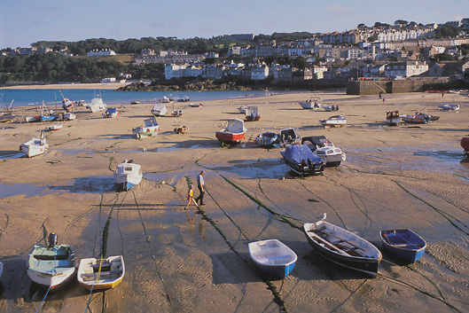 Harbor at low tide in St. Ives in Cornwall, England.