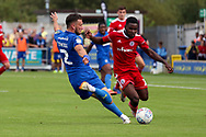 AFC Wimbledon defender Luke O'Neill (2) cross for own goal during the EFL Sky Bet League 1 match between AFC Wimbledon and Accrington Stanley at the Cherry Red Records Stadium, Kingston, England on 17 August 2019.
