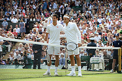 © Licensed to London News Pictures. 6th July 2014. London. UK. Crowds and celebrities watch the The Men's Final between Roger Federer, SUI v Novak Djokovic, SER at the Wimbledon Tennis Championships 2014. Photo credit :  Mike King/LNP