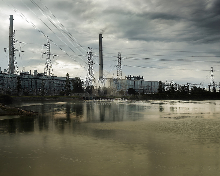 Torrens Islands,Australia, (SA): Exterior view of the Torre Island factory power plant, South Australia .Photographs by Alejandro Sala | Visit Shop Images to purchase and download a digital file and explore other Alejandro-Sala images…