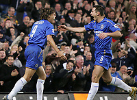 Photo: Lee Earle.<br /> Chelsea v Newcastle United. The Barclays Premiership.<br /> 19/11/2005. Chelsea's Frank Lampard (R) congratulates Hernan  Crespo after he scored their second.