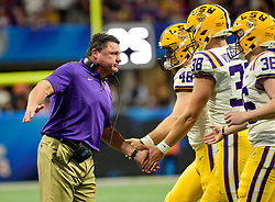 LSU Tigers head coach Ed Orgeron during the first half against Oklahoma Sooners in the 2019 College Football Playoff Semifinal at the Chick-fil-A Peach Bowl on Saturday, Dec. 28, in Atlanta. (Vasha Hunt via Abell Images for the Chick-fil-A Peach Bowl)