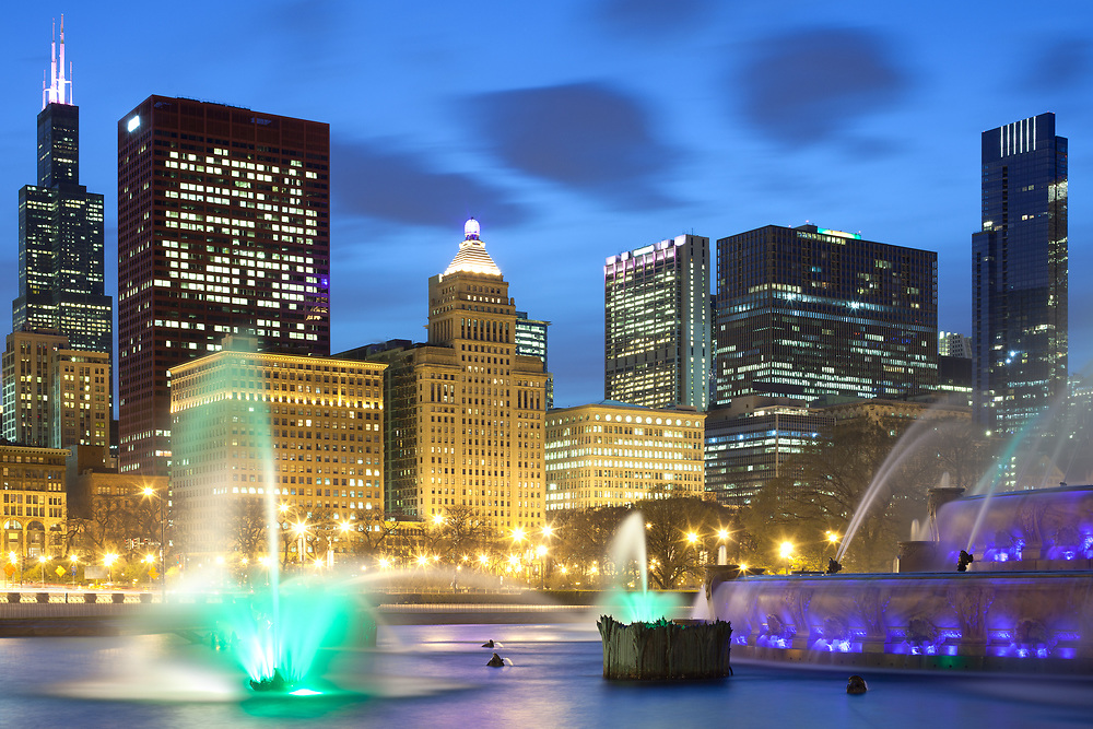 Downtown city skyline at dusk, Chicago, Illinois, United States