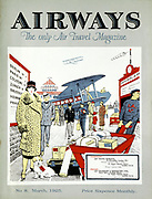 Passengers arriving to embark for Paris at Croydon Aerodrome, London. Cover for''Airways' magazine, London, March 1925.