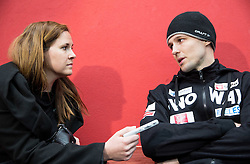 Barbara Kavcic of Ekipa and Ales Kranjc during first meeting of Slovenian Ice Hockey National Team for IIHF World Championships Ostrava 2015, on April 5, 2015 in Arena Podmezakla, Jesenice, Slovenia. Photo by Vid Ponikvar / Sportida