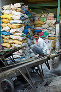 Rock salt on sale at Khari Baoli spice and dried foods market, Old Delhi, India