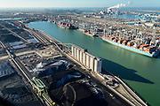 Nederland, Zuid-Holland, Rotterdam, 18-02-2015; Eerste Maasvlakte met aan de Amazonehaven Europees Massagoed Overslagbedrijf (EMO). Gespecialiseerd in de overslag van kolen en ijzererts. <br /> In de achtergrond de Tweede Maasvlakte (MV2), midden de  containerterminal APM Terminals en de centrale van E.ON.<br /> EMO transhipment terminal for coal and iron ore and other dry bulk.<br /> luchtfoto (toeslag op standard tarieven);<br /> aerial photo (additional fee required);<br /> copyright foto/photo Siebe Swart
