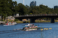 Rowing crews are seen training on the Yarra during the 35th day of zero COVID-19 cases in Victoria, Australia. School and community sport is ramping up and as the weather improves, more people are venturing out and about to enjoy this great city. Pressure is mounting on Premier Daniel Andrews to keep his promise of removing all remaining restrictions. (Photo by Dave Hewison/Speed Media)