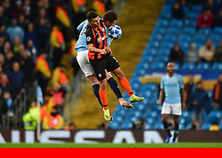 Anthony Devlin via PA Images<br /><br />Manchester City's Aymeric Laporte and Shakhtar Donetskís Junior Moraes compete for a header