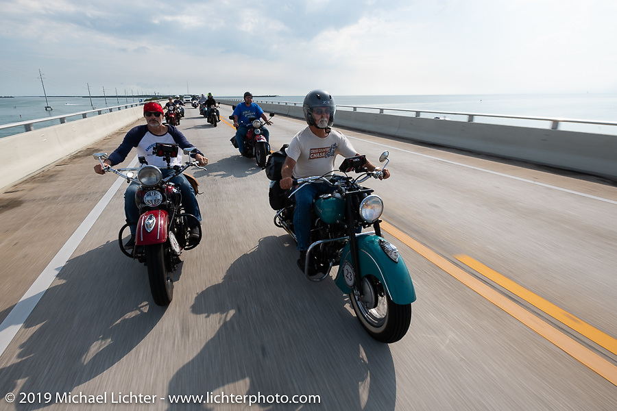 Harleys and Indians - Joe Ferri riding his teal 1947 Indian Chief beside Bob Zeolla on his 1939 Harley-Davidson EL Knucklehead through the Keys on the Cross Country Chase motorcycle endurance run from Sault Sainte Marie, MI to Key West, FL. (for vintage bikes from 1930-1948). Stage-10 covered 110 miles from Miami to the finish in Key West, FL USA. Sunday, September 15, 2019. Photography ©2019 Michael Lichter.