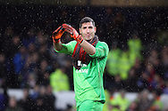 Everton Goalkeeper Joel Robles applauds the fans after the game. The Emirates FA cup, 3rd round match, Everton v Dagenham & Redbridge at Goodison Park in Liverpool on Saturday 9th January 2016.<br /> pic by Chris Stading, Andrew Orchard sports photography.